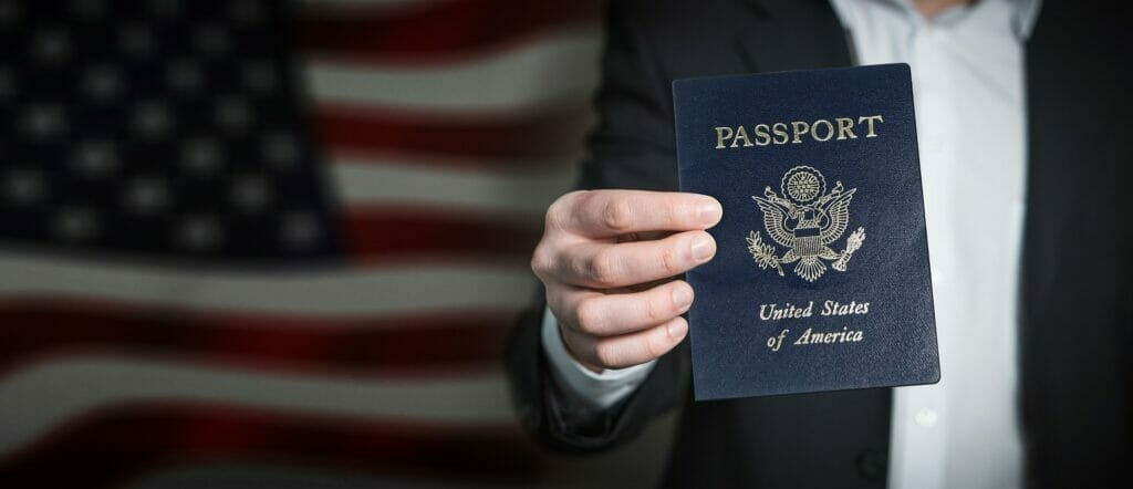 Man showing visa of the United States of America